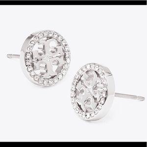 Tory Burch sparkly silver logo studs